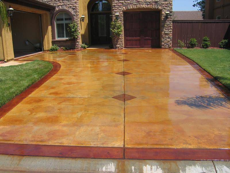 Brown Stained Concrete Driveway